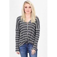 Must Have Striped Thermal Button +Tie Front L/S {Charcoal}