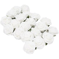 White Wired Rose Heads 20 Pack