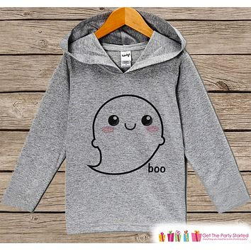 Kids Halloween Shirt - Ghost Halloween Hoodie - Cute Baby Girl or Boy's Halloween Grey Hoodie - Happy Halloween Hoodie - Halloween Costume