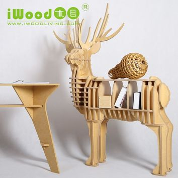 Nordic Elk wood shelving creative home decor European ornaments Home Decoration deer simulation wooden crafts
