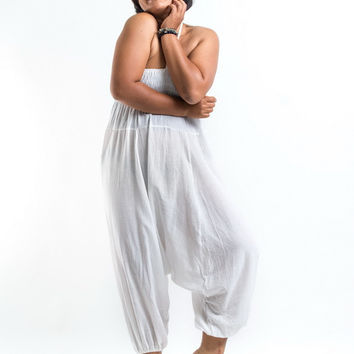 Plus Size Solid White Jumpsuit Harem Pants