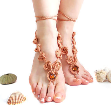 Cool Barefoot Sandal, Brown Crochet Barefoot sandals, Barefoot Sandles, Boho, Crochet Anklet, Nude shoes, Yoga, Victorian Lace