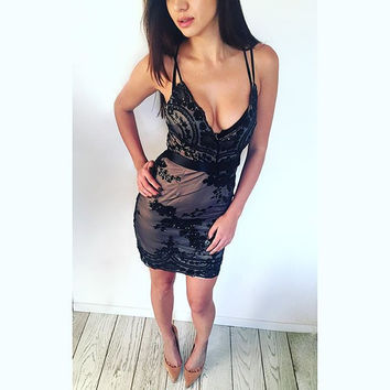 Black Strappy Sequined Sheer Mesh Overlay Dress