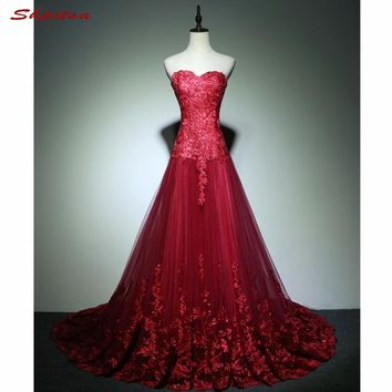 Red Long Lace Prom Dresses for Graduation Sweetheart A Line Tulle Formal Evening Gowns Dresses vestido de formatura longo