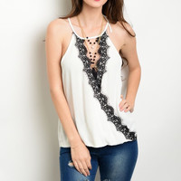 Victorian Scalloped Lace Plunge Blouson Top in White and Black