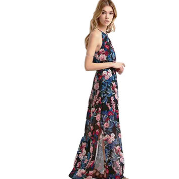 New Spring Flower Women Elegant Maxi Dress Casual Sleeveless Floral Long Print Dress 2017 Women Dresses Vestido Elegante Ladies