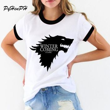 New women's t-shirt Game of Thrones Shirt Winter is coming stark wolf funny casual t shirt womens summer tshirt women clothing