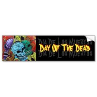 Day Of The Dead / Sugar Skull Art Bumper Sticker from Zazzle.com