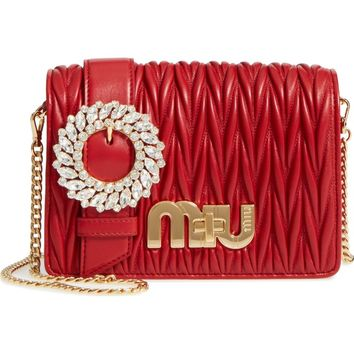 Miu Miu Matelassé Leather Shoulder Bag | Nordstrom