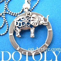 Elephant and Hoop Pendant Necklace in Silver | Animal Jewelry