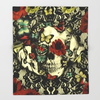 Vintage Gothic Lace Skull Throw Blanket by Kristy Patterson Design