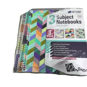 Top Flight Wired 3-Subject Wirebound Notebook (Pack of 3)