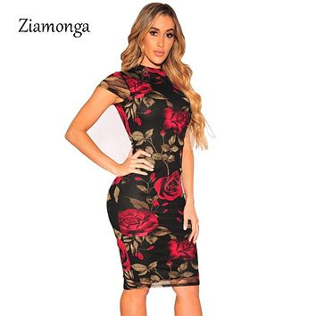 Ziamonga Plus Size Bandage Dress 2018 Sexy Party Dress Black Floral Print Knee Length Pencil Midi Dress Sexy Bodycon Women Dress