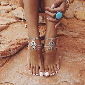 2016 Vintage Antique Silver Anklet Women Turquoise Beads Bohemian Ankle Bracelet Tornozeleira Chaine Cheville Boho Foot Jewelry