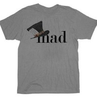 Alice In Wonderland Mad Hatter Hat Mens Gray T-shirt Tee