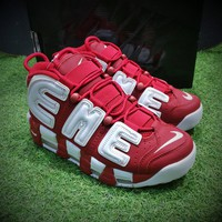 Best Online Sale Nike Air More Uptempo Retro Sport Baskerball Shoes  Red White Sneaker