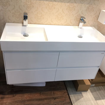 1200Mm Wall Mounted Solid Surface Stone Double Basin W/ Soild Wooden Bathroom Vanity Cloakroom Cabinet Oka Furniture