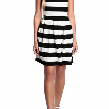 Carrie Striped Fit-and-Flare Dress