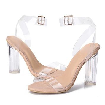 Jelly Sandals Open Toe High Heels Women Transparent Perspex Shoes Thick Heel Clear Sandals
