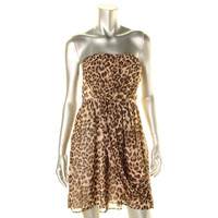Romeo & Juliet Couture Womens Juniors Chiffon Animal Print Party Dress