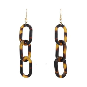 Stacked Links Tortoise Earrings