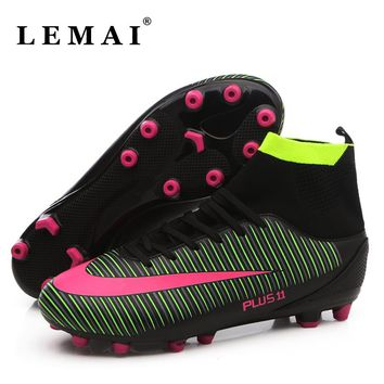 Men's Football Boots Men High Ankle Soccer Shoes AG Outdoor Man Training Sock Cleats Shoes