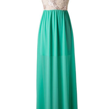 Subtle Sparkle One Shoulder Maxi Dress - Jade