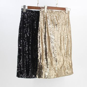 Stunning High Waist Gold Black Women Sequin Skirt Stretchy Waist Sexy Club Party Body con Midi Skirt