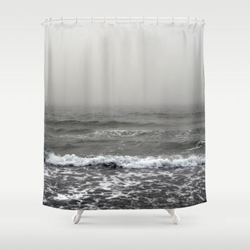 Into the Abyss - Shower Curtain, Gray Coastal Ocean Fog Seascape, Beach Surf Style Vanity Bathroom Hanging Bath Tub Curtain. In 71x74 Inches