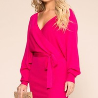 Dress To Impress Hot Pink Wrap Dress
