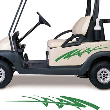 WHITE COLOR Golf Cart Go Cart Stickers Graphics Decals Tribal Flames Stripes GC100