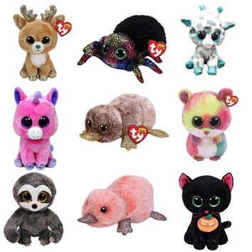 "Ty Beanie Boos 6"" 15cm Dragon Dinosaur Rabbit Unicorn Purple Spider Plush Stuffed Animal Soft Big Eyes Doll toys for children"