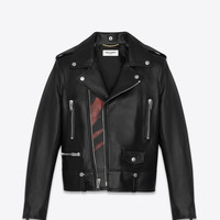 Classic Black and Red Flame Motorcycle Jacket in leather