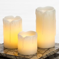 Inglow 3-pc. Flameless LED Pillar Candle Set (White)