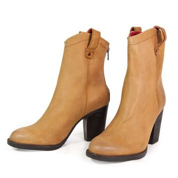 Red Round Toe Booties