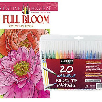 Sargent Art Washable Firm Brush Tip Markers in a Case, Set of 20 and Dover Adult Coloring Book, In Full Bloom by Ruth Soffer: Stress Relieving Patterns to Relax and Enjoy!