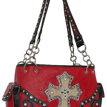 Cross Leather Designer Fashion Bling Western Stitch Rhinestone Stud Trendy Purse Handbag Red Black