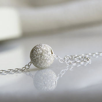 Dainty silver necklace - Silver ball necklace, Silver dot necklace, Small silver jewelry, Tiny silver necklace, Simple silver necklace