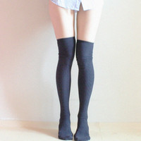 SCARLET Navy blue Over knee socks Thigh high Boot socks Preppy Lolita Pin up Retro Nautical Marine blue socks
