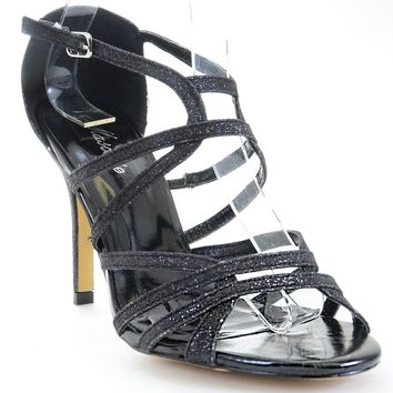 Caged Glitter Beaded Platform Heels Sandals Black Fourever Funky