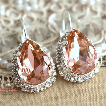Silver Pink blush peach drop earrings,Bridal earrings rhinestone swarovski, halo earrings, crystal jewelry Silver or Gold plated  earrings