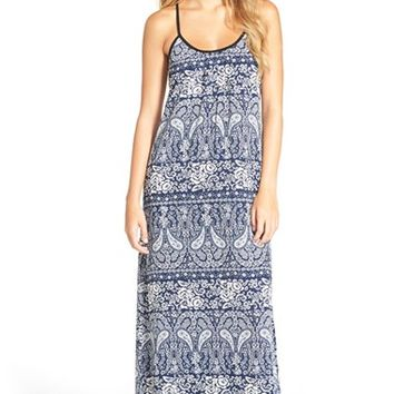 Junior Women's Mimi Chica Strappy Back Print Maxi Dress,