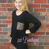 *Little 512* Black  Sparkle Top