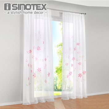 Window Curtains Panel Beautiful Handmade Floral Printed Pattern High Quality Voile Drape 100% Polyester For Living Room 1 PCS