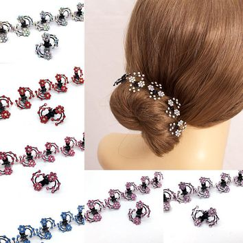 Fashion 6 Pcs Set Rhinestone Flower Hair Clips Clamp Women Lady Hair Claws Bridal Jewelry Hair Accessories Barrettes Hairpin
