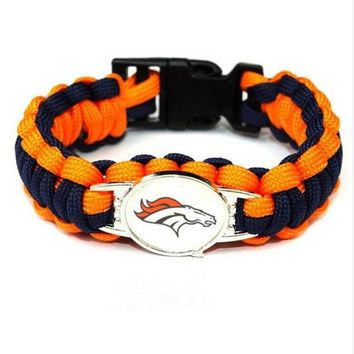 New Arrivals Paracord Survival Bracelet Denver Broncos Team USA Fans Football Bracelets For Sport Jewelry 10pcs/lot
