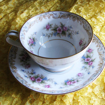 Vintage Noritake China Somerset #5317 Signed Bone China Teacup and Saucer, 1960's, Great Birthday Gift For A Tea Lover, Cottage Decor