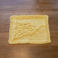 Yellow Hand Knit Delightful Daisy Dish Cloth or Wash Cloth