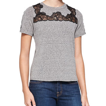 Women's Lace-Inset Short-Sleeve Top - Rebecca Taylor - Panther
