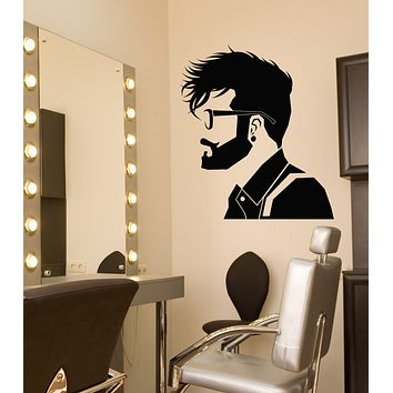 Vinyl Wall Decal Hipster Guy Style Barbershop Hairstyle Salon Stickers (3346ig)